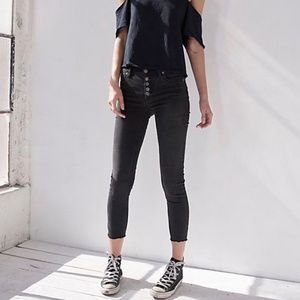 *free people* reagan button front jeans black NWT